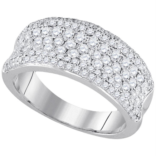 14k White Gold Womens Round Diamond Pave Wedding Anniversary Band Ring 1-1/3 Cttw