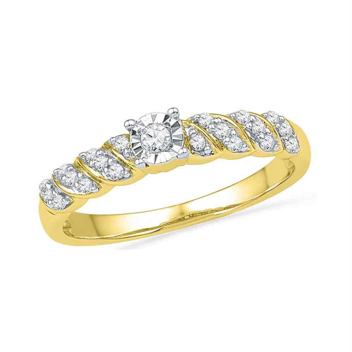 10kt Yellow Gold Womens Round Diamond Solitaire Promise Bridal Ring 1/5 Cttw - 100225-7
