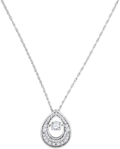 10kt White Gold Womens Round Diamond Moving Twinkle Solitaire Teardrop Pendant 1/2 Cttw