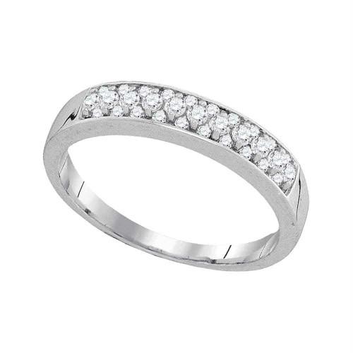 10kt White Gold Womens Round Pave-set Diamond Single Row Wedding Band 1/4 Cttw - 94072-9