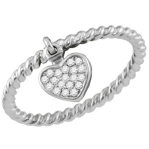 10kt White Gold Womens Round Diamond Heart Dangle Stackable Band Ring 1/10 Cttw