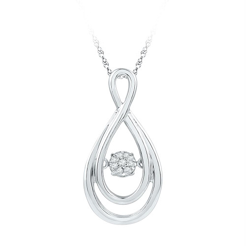 10kt White Gold Womens Round Diamond Solitaire Moving Twinkle Teardrop Pendant 1/20 Cttw