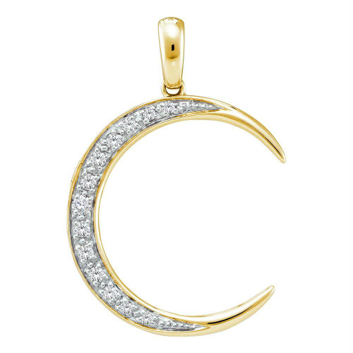 14kt Yellow Gold Womens Round Diamond Crescent Moon Pendant 1/6 Cttw
