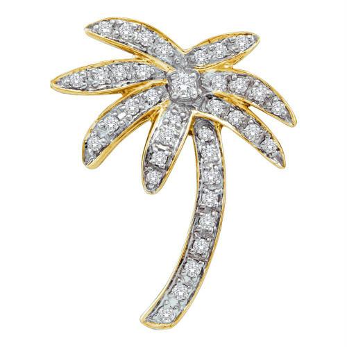 14kt Yellow Gold Womens Round Diamond Palm Tree Nautical Pendant 1/4 Cttw