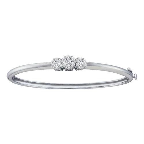 14kt White Gold Womens Round Diamond Flower Cluster Bangle Bracelet 1.00 Cttw