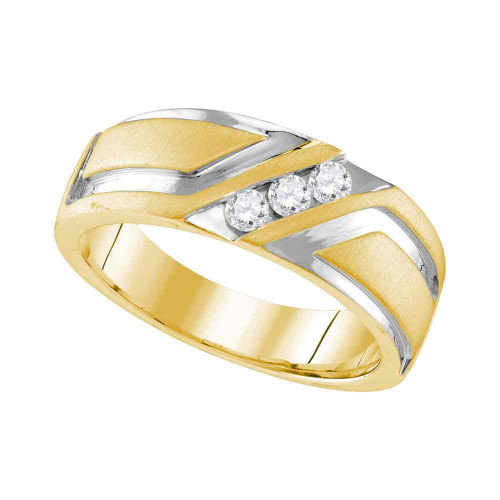 10k Yellow Gold Mens Round Diamond 2-tone Wedding Anniversary Band Ring 1/4 Cttw - 109607-10