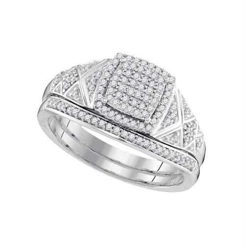 10kt White Gold Womens Round Diamond Square Bridal Wedding Engagement Ring Band Set 1/3 Cttw - 98445-7.5