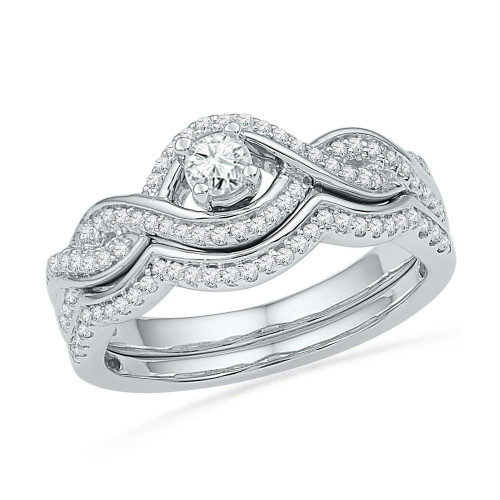 10k White Gold Womens Round Diamond Bridal Wedding Engagement Ring Band Set 1/2 Cttw - 101598-10