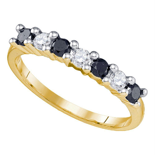 10k Yellow Gold Womens Black Color Enhanced Round Diamond Wedding Anniversary Band 1/2 Cttw
