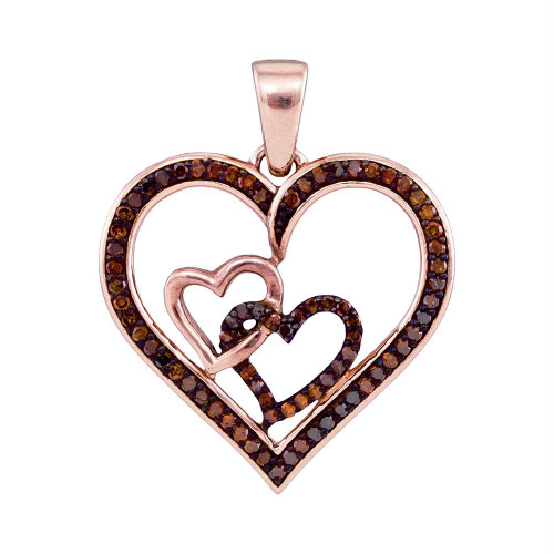 10kt Rose Gold Womens Round Red Color Enhanced Diamond Heart Love Pendant 1/4 Cttw - 93540