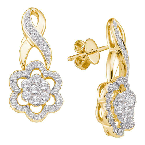 14kt Yellow Gold Womens Round Diamond Flower Cluster Screwback Earrings 1.00 Cttw
