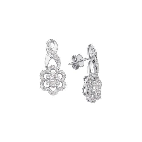 14kt White Gold Womens Round Diamond Flower Cluster Screwback Earrings 1.00 Cttw