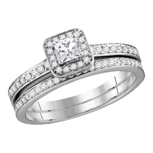 10k White Gold Womens Princess Diamond Bridal Wedding Engagement Ring Band Set 3/4 Cttw