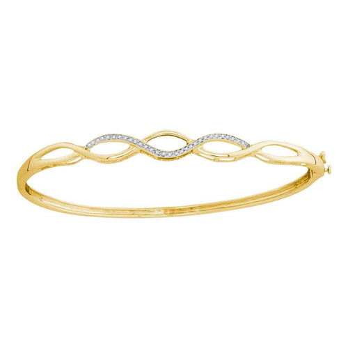 10kt Yellow Gold Womens Round Diamond Woven Strand Bangle Bracelet 1/8 Cttw