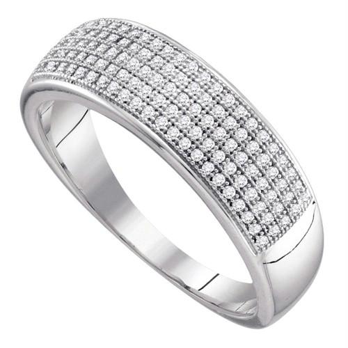 10kt White Gold Mens Round Diamond Wedding Band Ring 1/3 Cttw - 64568-8.5