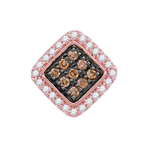 10kt Rose Gold Womens Round Cognac-brown Color Enhanced Diamond Diagonal Square Pendant 1/4 Cttw