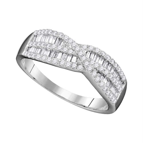 10k White Gold Womens Round Baguette Diamond Crossover Band Ring 5/8 Cttw