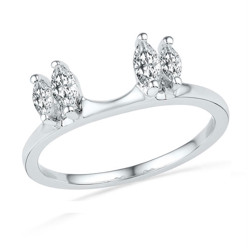 14kt White Gold Womens Oval Diamond Ring Guard Wrap Solitaire Enhancer 1/2 Cttw