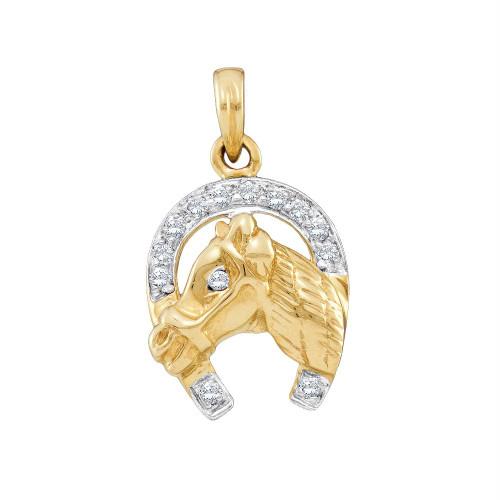 14kt Two-tone Gold Womens Round Diamond Lucky Horseshoe Horse Head Pendant 1/10 Cttw