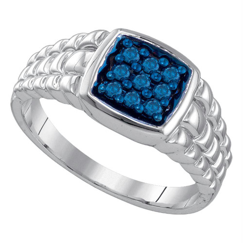 10k White Gold Mens Masculine Blue-colored Diamond Cluster Square-shape Band Ring 1/4 Cttw