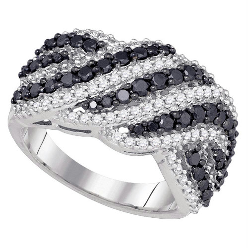 10k White Gold Womens Black Color Enhanced Diamond Striped Cocktail Band Ring 1-1/2 Cttw