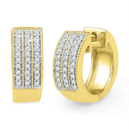 10kt Yellow Gold Womens Round Diamond Triple Row Huggie Hoop Earrings 1/4 Cttw