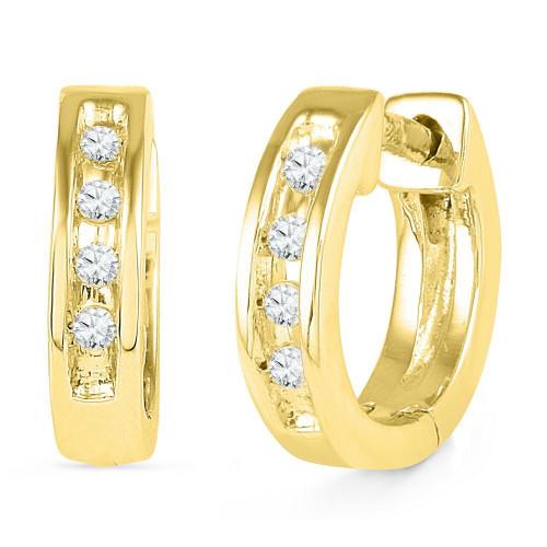 10kt Yellow Gold Womens Round Diamond Single Row Huggie Earrings 1/20 Cttw