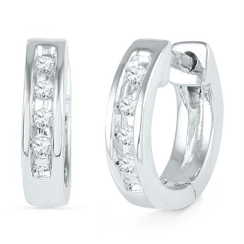 10kt White Gold Womens Round Diamond Single Row Huggie Earrings 1/20 Cttw