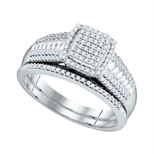 10kt White Gold Womens Round Diamond Square Cluster Bridal Wedding Engagement Ring Band Set 3/8 Cttw