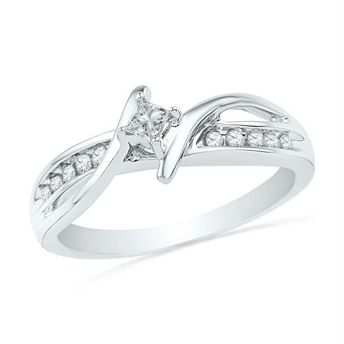 10kt White Gold Womens Princess Diamond Solitaire Bridal Wedding Engagement Ring 1/5 Cttw - 100558-10