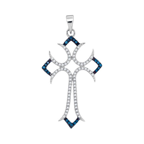 10kt White Gold Womens Round Blue Color Enhanced Diamond Flared Cross Pendant 1/4 Cttw