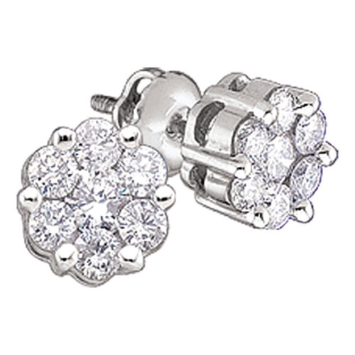10k White Gold Round Diamond Flower Cluster Womens Screwback Stud Earrings 1/6 Cttw