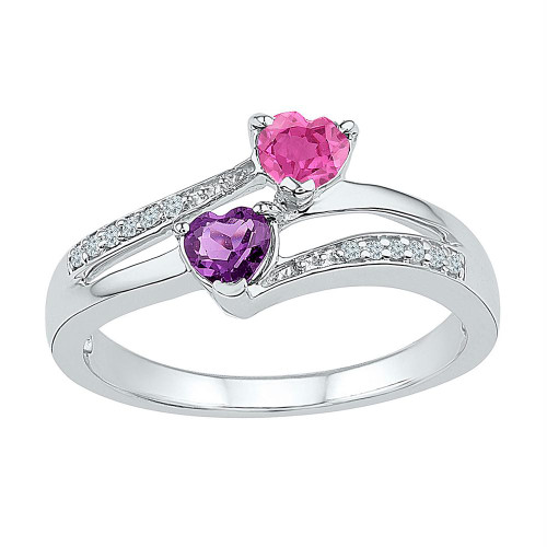 Sterling Silver Womens Heart Lab-Created Amethyst Pink Sapphire Bypass Ring 3/4 Cttw