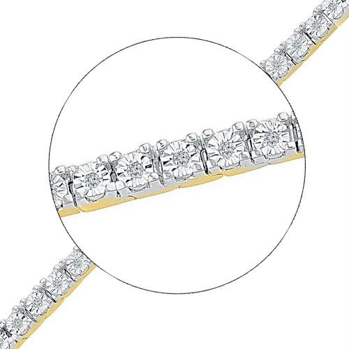 10kt Yellow Gold Womens Round Diamond Miracle Fashion Bracelet 1/4 Cttw
