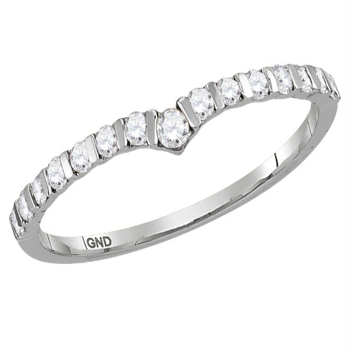10kt White Gold Womens Round Diamond Chevron Stackable Band Ring 1/4 Cttw