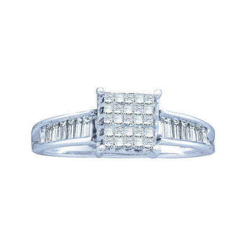 14kt White Gold Womens Princess Diamond Square Cluster Ring 1/2 Cttw - 21711
