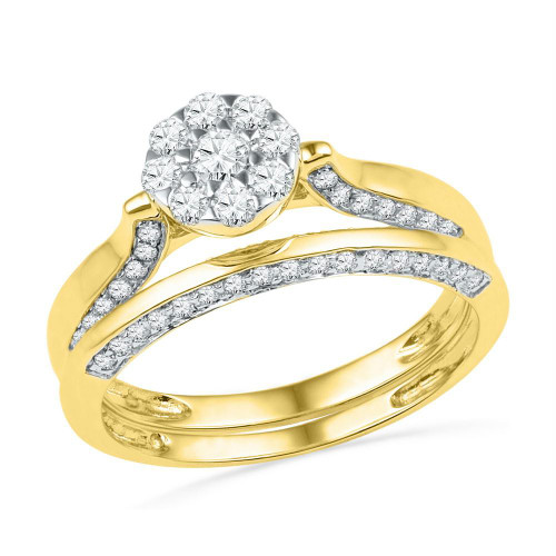 10kt Yellow Gold Womens Round Diamond Cluster Bridal Wedding Engagement Ring Band Set 5/8 Cttw