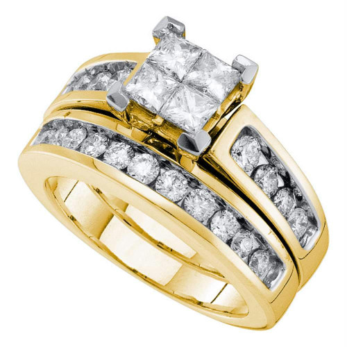 14kt Yellow Gold Womens Diamond Princess Bridal Wedding Engagement Ring Band Set 1-1/2 Cttw