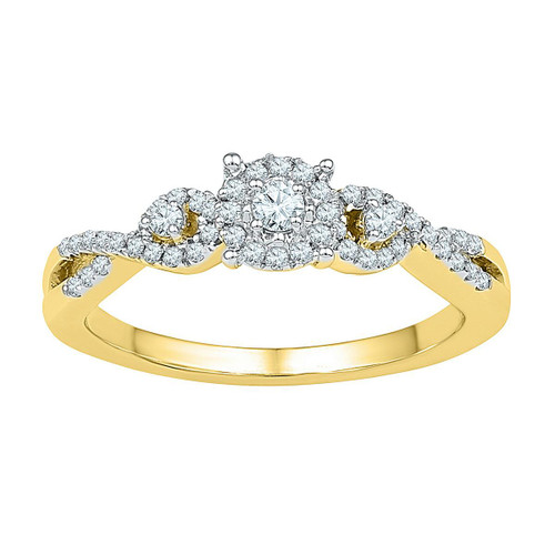 10kt Yellow Gold Womens Round Diamond Solitaire Halo Twist Bridal Wedding Engagement Ring 1/4 Cttw