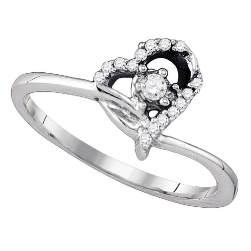 10k White Gold Round Diamond Womens Heart Dainty Promise Bridal Engagement Ring 1/10 Cttw