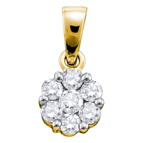 14kt Yellow Gold Womens Round Diamond Flower Cluster Pendant 1/4 Cttw