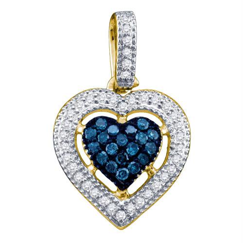 10kt Yellow Gold Womens Round Blue Color Enhanced Diamond Framed Heart Pendant 1/5 Cttw