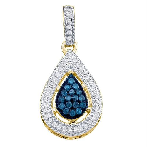10k Yellow Gold Blue Color Enhanced Diamond Teardrop Dangle Womens Pendant 1/5 Cttw