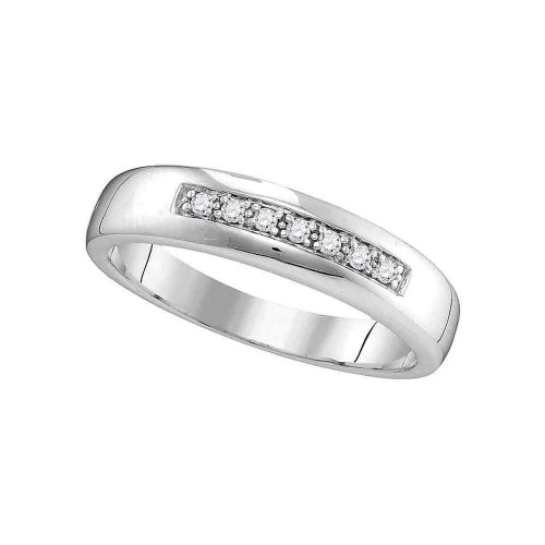 10kt White Gold Womens Round Diamond Single Row Wedding Band 1/10 Cttw