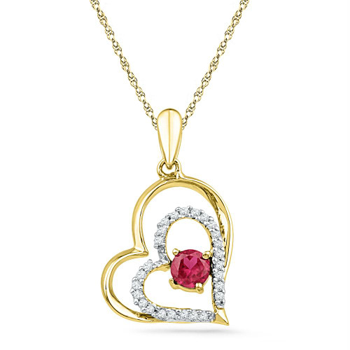 10kt Yellow Gold Womens Round Lab-Created Ruby Heart Love Pendant 3/8 Cttw