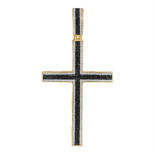 10kt Yellow Gold Mens Round Black Color Enhanced Diamond Roman Cross Charm Pendant 1-7/8 Cttw