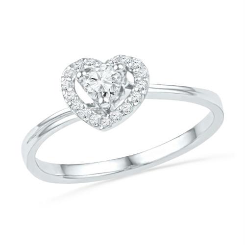 10kt White Gold Womens Round Diamond Heart Love Promise Bridal Ring 1/4 Cttw