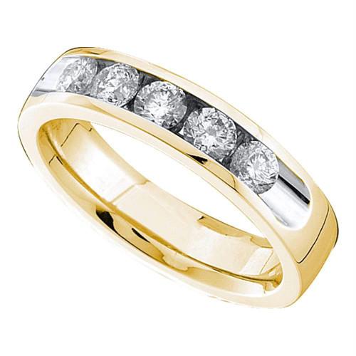 14kt Yellow Gold Womens Round Channel-set Diamond Single Row Wedding Band 1/2 - 40837-6.5