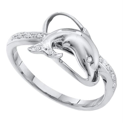 10kt White Gold Womens Round Diamond Dolphin Fish Animal Ring 1/20 Cttw