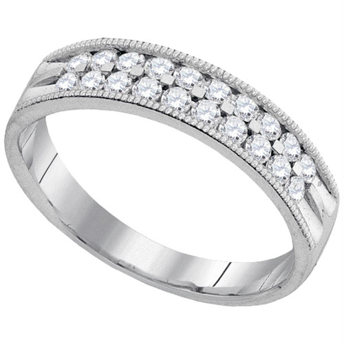 10kt White Gold Womens Round Diamond Double Row Milgrain Wedding Band 1/2 Cttw